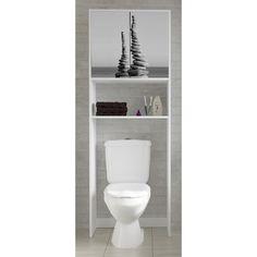 Meuble wc etagere bois gain de place pour toile meuble - Abattant wc foir fouille ...