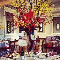A fall wedding centerpiece at a wedding by Blue Plate Catering in Chicago.