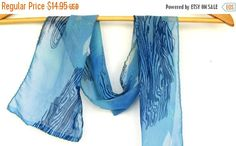 SALE Blue printed scarf small scarf head by BestOffersBoutique