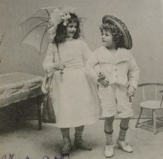 French Antique Postcard  Cute Little Boy & Girl Arm by ChicEtChoc, $4.50