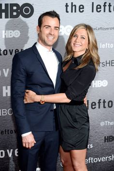 Jennifer Aniston and her fiancé, Justin Theroux, hit the red carpet for the first time since September for The Leftovers premier. See more celebrity red carpet style here.