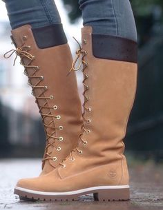 lace-up Timberland tall boots 14 inch outfit details Timberland Outfits, Timberland Stiefel Outfit, Timberland Boots Women, Timberlands Women, Bootie Boots, Shoe Boots, Ankle Boots, Women's Boots, Heeled Boots