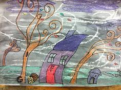 A Very Windy Day - cute idea for art + writing