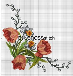 This Pin was discovered by Eli Cross Stitch Rose, Cross Stitch Borders, Cross Stitch Flowers, Cross Stitch Designs, Cross Stitching, Cross Stitch Patterns, Cutwork Embroidery, Embroidery Patterns Free, Cross Stitch Embroidery