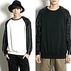 Remember Click Zipped Sleeve Detail Raglan Sweater BLACK WHITE ONE SIZE Korean #RememberClick #SweatshirtCrew
