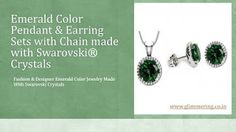 Emerald Color Pendant & Earrings Set with Chain made with Swarovski Crystals. Buy Now: http://www.glimmering.co.in/swarovski-crystals-emerald-color-pendant-and-earrings-set-gs004em.html