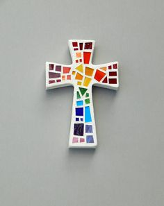 "Mosaic Wall Cross, Small, White with Rainbow Glass, Handmade Stained Glass Mosaic Cross Wall Decor,  6"" x 4"" by Dana Hess -- The Green Banana Mosaic Company"