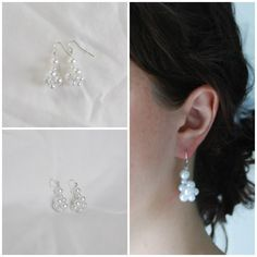 Bridal Pearl Cluster Drop Earrings -  Classy Silver Coloured Findings White Ivory Pink Champagne Bride Wedding Marriage  by A Modest Bit of Flair on Etsy
