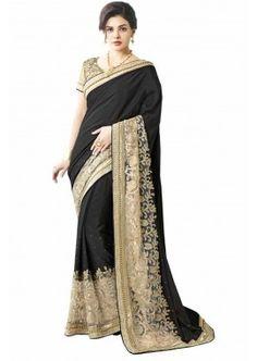 couleur noire georgette saree, - 158,00 €, #Sariindienmariage #Sariindien #Sarimoderne #Shopkund