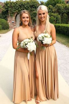 cheap long bridesmaid dresses, champagne bridesmaid dresses, elegant wedding party dresses #dressywomen #bridesmaids #wedding #weddingdresses #weddingideas