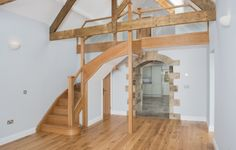 Dining area in Featherdown, Cavil Head Farm, check out the beautiful oak staircase and exposed A frame beams Design Reference, Dining Area, Future House, Beams, Templates, Studio, Luxury, School, Check