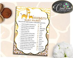 CELEBRITY BABY NAMES giraffe baby shower boy or girl game brown yellow theme printable, digital files, jpg pdf, instant download - sa001 #babyshowergifts #babyshowerideas