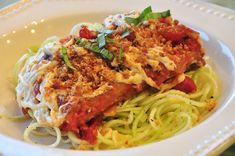 Tofu Parmesan with Zucchini Noodles.  umm - yum!  if you haven't tried tofu, you need to - can be used like chicken in most every recipe.  and, raw zucchini in place of pasta? brilliant!