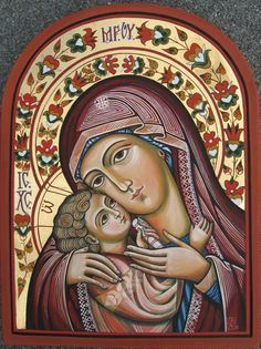 Mother of God with The Child Jesus. Orthodox icon by ByzantineArt Religious Images, Religious Icons, Religious Art, Byzantine Art, Byzantine Icons, Greek Icons, Russian Icons, Blessed Mother Mary, Mary And Jesus