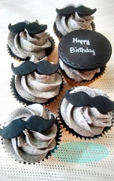 Moustache themed cupcakes