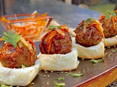 Asian Chicken Meatball Sliders with Pickled Carrot and Daikon recipe from Guy Fieri via Food Network