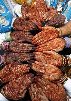 """henna painted hands before the """"Teej"""" festival in northern India"""