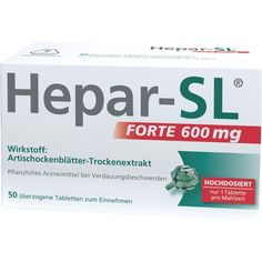 HEPAR SL forte 600 mg überzogene Tabletten:   Packungsinhalt: 50 St Überzogene Tabletten PZN: 08922650 Hersteller: MCM KLOSTERFRAU Vertr.…
