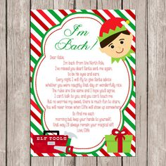 Elf on the Shelf I'm Back DIY/PRINTABLE Letter by SJPInvitations
