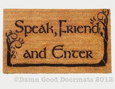 Elvish LOTR Hobbit Tolkien Speak Friend and by DamnGoodDoormats