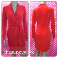New $69 Victoria 039 s Secret Faux Wrap Drape Neck Long Sleeve Dress Small Coral Red | eBay