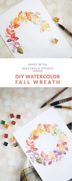 DIY watercolor fall wreath. Click on to learn how to paint them | Inkstruck Studio #watercolorarts