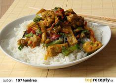 Kuřecí maso na kari s rýží, zeleninou recept - TopRecepty.cz Food And Drink, Meat, Chicken, Cooking, Cubs