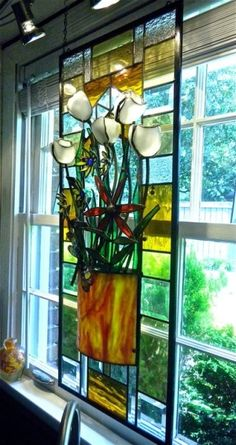 Stained Glass Panels For Windows - Foter Stained Glass Flowers, Stained Glass Designs, Stained Glass Panels, Stained Glass Projects, Stained Glass Patterns, Leaded Glass, Stained Glass Art, Mosaic Glass, Fused Glass