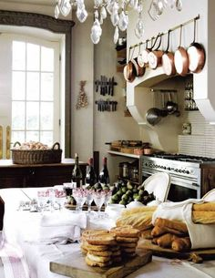 Kitchen , Farmhouse Kitchen Ideas : Farmhouse Kitchen Ideas With Large Island And Crystal Chandelier And Kitchen Storage Such Pot Rack Over ...