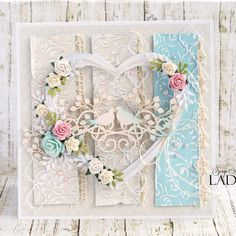 Card for wedding anniversary or for people in love ;) with gorgeous flowers and embellishments #wildorchidcrafts in my favourite colors #handmade #cardmaking #lemoncraft #uniquegifts #wedding #anniversary