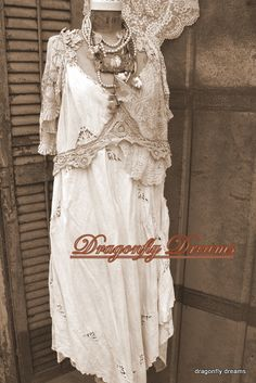 one of a kind clothing from Dragonflydreamsclothing.com Upcycled Vintage, Vintage Lace, Dolly Dress Up, Vintage Inspired Fashion, Altered Couture, Romantic Outfit, Linens And Lace, Boho Dress, Secret Closet