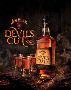Jim Beam Devil's Cut on Behance Cigars And Whiskey, Scotch Whiskey, Bourbon Whiskey, Alcohol Bottles, Vodka Bottle, Liquor Bottles, Jim Beam, Wine Label, Refreshing Drinks