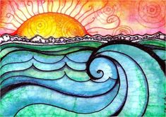 wave tattoo idea....love the colors