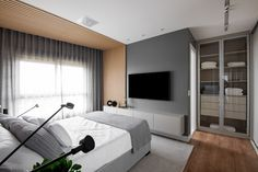 Couple Bedroom, Home Office, New Homes, Room Decor, Curtains, House, Furniture, Tv, Design