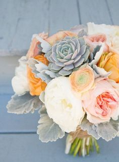 Love the peaches with the grey-green of the succulents and whites, minus the yellow and add in more peachy-or white flowers.