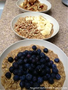 AMAZING Simple, Healthy & Guilt Free Oatmeal Muffin Recipe (Tastee Too!!!) - 3-4 Ripe Bananas 1 cup Unsweetened Vanilla Almond Milk 2 Eggs 1 tbsp. Baking Powder 3 cups Oats 1 tsp. Vanilla Extract 3 tsp. Cinnamon (Optional) Fruits you can add to the mix: 1) Apples & Cinn.  2) Banana & Pecans 3) Blueberries