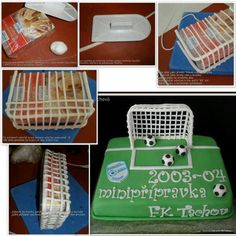 How to make a goal for a soccer themed dessert.