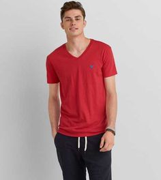 American Eagle Legend V-Neck T-Shirt, Men's, Cherrywood American Eagle Men, Mens Outfitters, Aeo, V Neck T Shirt, Lounge Wear, American Eagle Outfitters, Active Wear, Fitness, Clothes For Women