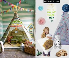 Charming room for kids full of cute toys and accessories. #tipi #kidsroom #toys
