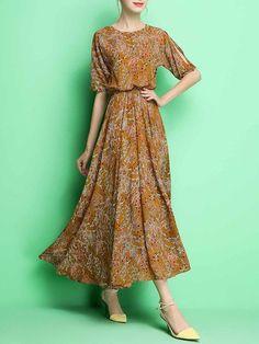Half Sleeve Floral Print Midi Dress