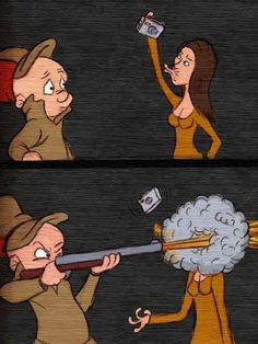 Elmer Fudd vs Selfies, Elmer Gruñon y las selfies Duck Hunting Season, Duck Season, The Crow, Best Funny Pictures, Funny Photos, Funny Images, Selfies, Akira, Hunting Jokes