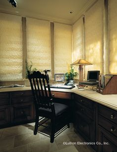 Create the perfect ambiance in your home office. Minimize the glare on your computer with light and shade control. Smart Home Security, Home Security Systems, Motorized Shades, Security Companies, Roller Shades, Ideal Home, Window Treatments, Home Office, Blinds
