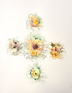 5 Sunflowers Watercolor 60x50 cm.