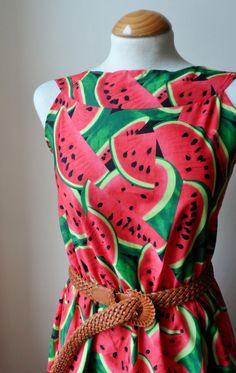 Watermelon Dress // Boho 50s Inspired Dress / Kitsch Watermelon Print Dress on Etsy, $44.41 AUD