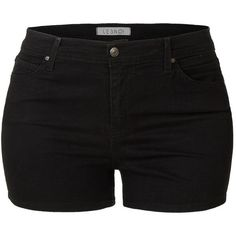 LE3NO Womens Plus Size Stretchy High Waisted Black Denim Shorts with... (2.105 RUB) ❤ liked on Polyvore featuring shorts, high waisted shorts, high-waisted denim shorts, denim shorts, jean shorts and high-waisted shorts