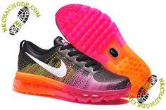 san francisco 0a98d ac2ea chaussures nike air max soldes 2014 Femme Noir Rose Orange Air Max Sneakers,