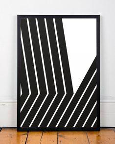 Black and white art Lines poster Black lines door ShopTempsModernes