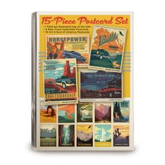 """Ram 15-pc Postcard Set - This 15-piece postcard set is a postcard collector's dream! It includes a fold-out illustrated mini-map of the USA, 4 Ram postcards, and 10 Art & Soul of America National Park postcards. Each postcard measures 4.25"""" wide x 6"""" tall. The fold-out map is 8.5"""" wide by 6"""" tall."""