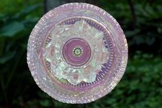 Recycled Garden art, Hand crafted plate flower, Hand Painted Garden Art and garden sun catcher by GlassBlooms on Etsy https://www.etsy.com/listing/231939101/recycled-garden-art-hand-crafted-plate