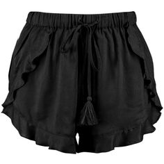 Boohoo Petite Laura Tassle Trim Shorts (85 ILS) ❤ liked on Polyvore featuring shorts, tassel shorts and petite shorts